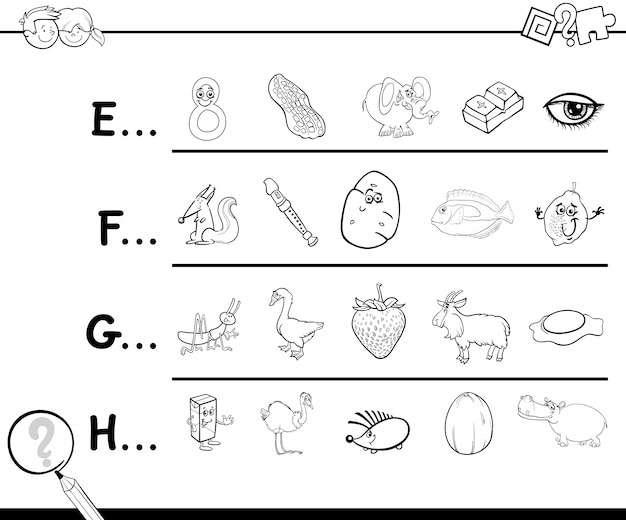 Start letter of a word coloring page