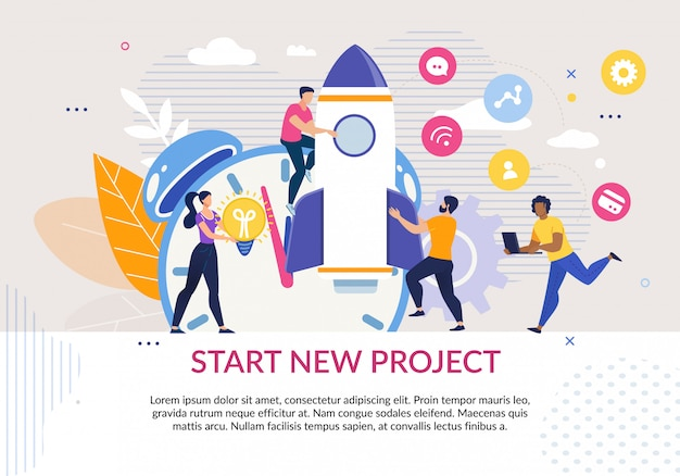 Start new project motivation poster in flat