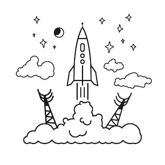 Запуск ракеты от космодрома к звездам, планетам и облакам, поднимая клубы дыма, векторная иллюстрация