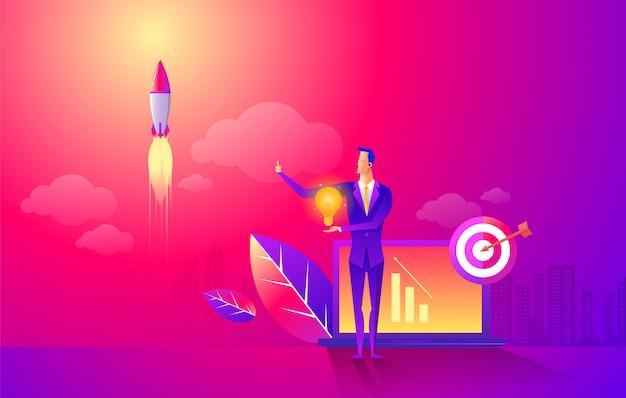 Start rocket ship in a flat style
