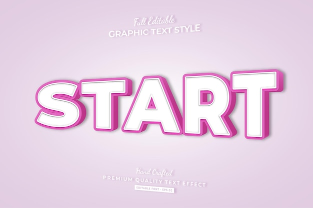 간단한 편집 가능한 텍스트 효과 글꼴 스타일 시작