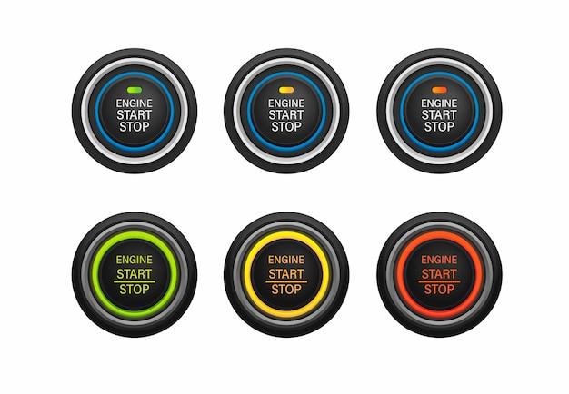 スタートストップエンジンプッシュボタン車楽器シンボルアイコンセット白のリアルなイラストベクトル