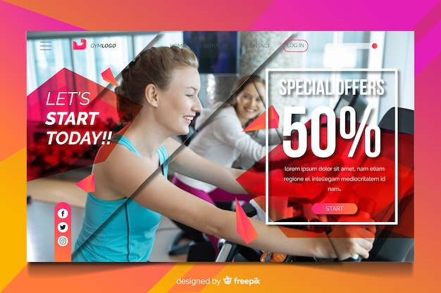 Start today gym promotion landing page