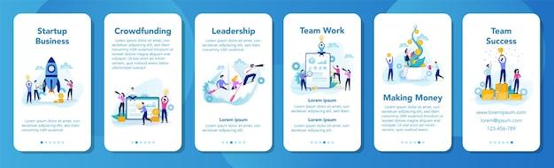 시작 및 사업 개발 모바일 응용 프로그램 배너입니다. 성공을 위해 일하는 사업 사람들. 리더십과 팀워크. 창의적인 마음과 혁신. 삽화