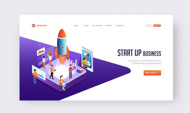 Start up business concept website or landing page design.