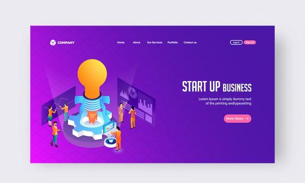 Start up business concept website or landing page design.