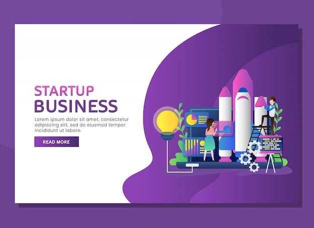 Start up business landing page concept