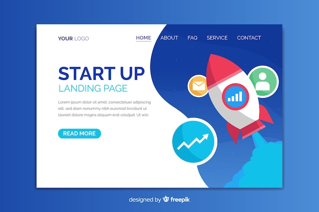Start up business landing page template