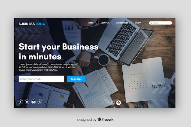 Start-up business landing page