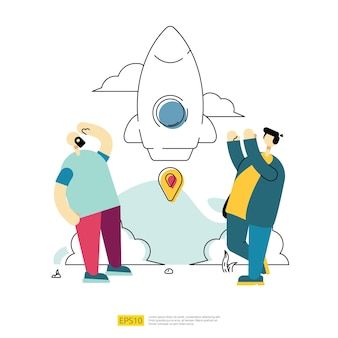 宇宙船ロケットと漫画のキャラクターチームで起業コンセプトを立ち上げます。フラットスタイルのイノベーションチーム開発スタートアップ戦略ベクトル図
