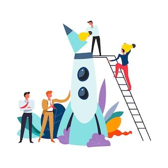 Start up of businessmen males launching rocket