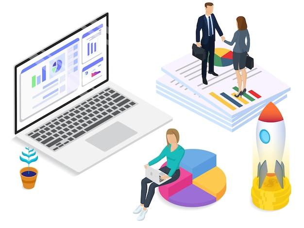 Start-up company isometric vector