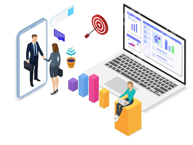Start-up company isometric