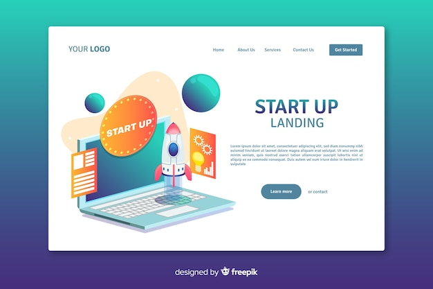 Start up company landing page design