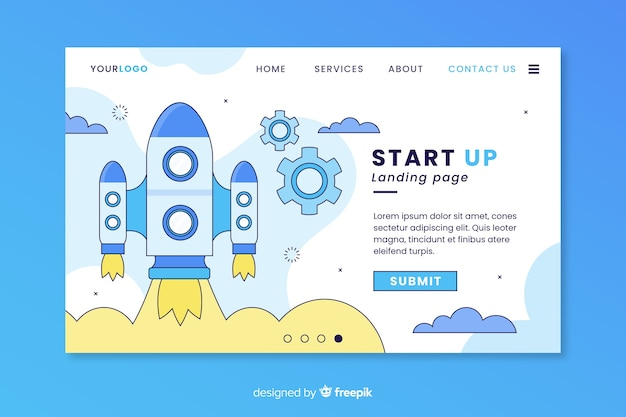 Start-up company landing page