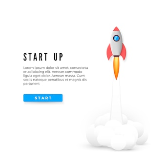 コンセプトバナーを起動します。創造的なビジネスアイデアの開発。 rocketを起動します。