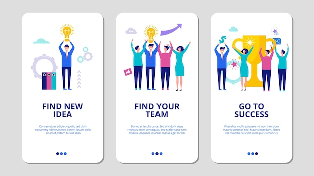 Start up concept. find your team mobile app pages. business success illustration. team and idea for new business, creative teamwork