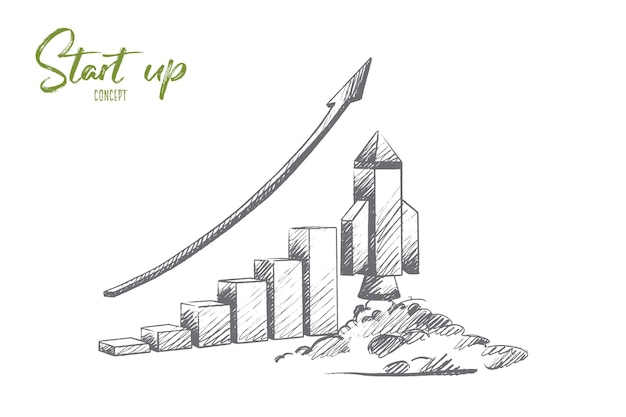 Start up concept. hand drawn missile at launch. rocket launch as a symbol of start up isolated illustration.