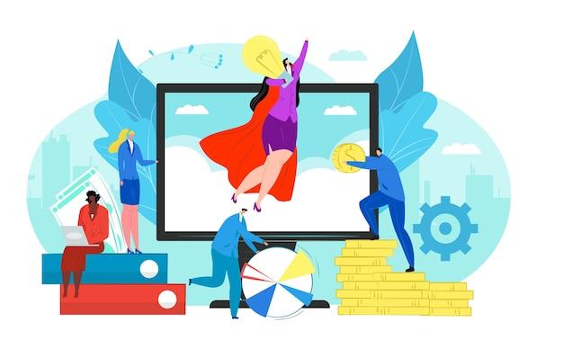 새로운 비즈니스 프로젝트 그림의 개념을 시작하십시오. 팀워크의 스타트 업과 관리자는 새로운 혁신 제품을 출시합니다. 신기술 아이디어, 혁신의 시작. 개발.