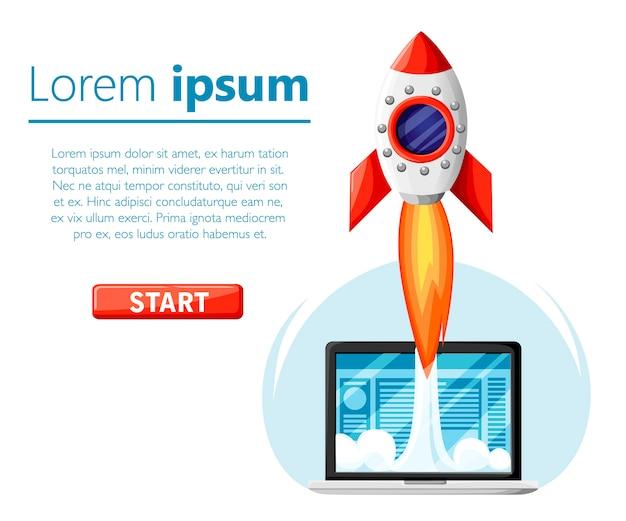 개념을 시작하십시오. 우주에서 비행하는 로켓. 혁신 제품, 창의적인 아이디어. 비즈니스 프로젝트 시작, 신제품 또는 서비스 출시. 빨간색 시작 버튼. 흰 바탕