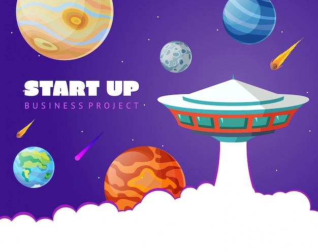 Start up concept space background with ufo and planets