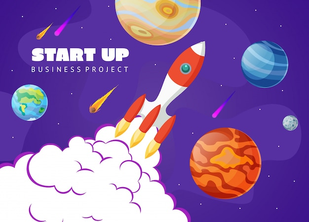 Start up concept space background