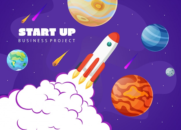 Start up concept space with rocket and planets. space exploring