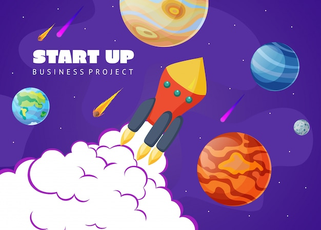 Start up concept space with rocket and planets.