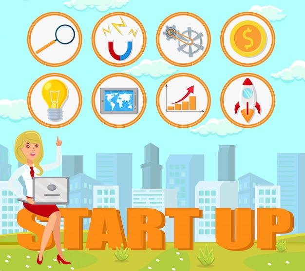 Start up concept. vector flat illustration.