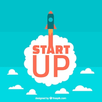 Start up concept with rocket and clouds