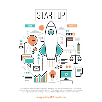 Start up concept with rocket and elements