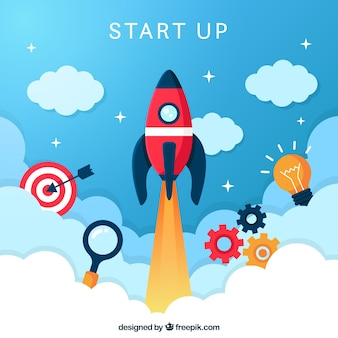 Start up concept with rocket