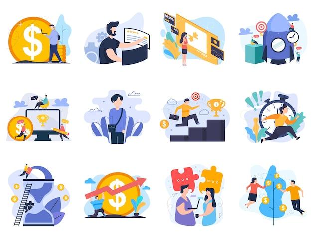 Набор иллюстраций для запуска сотрудников