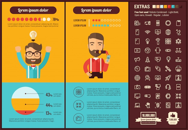 Start up flat design infographic template and icons set
