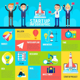 Start up flat infographics