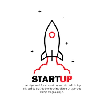 Start up icon. rocket launch and smoke. startup project concept. vector on isolated white background. eps 10.
