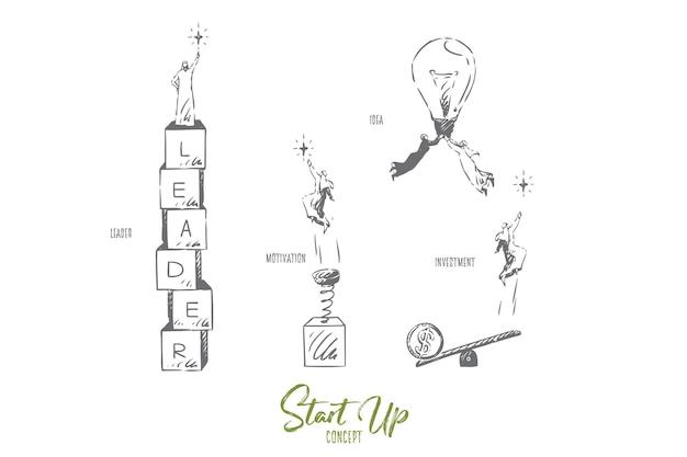 Запуск инвестиционной концепции эскиза иллюстрации