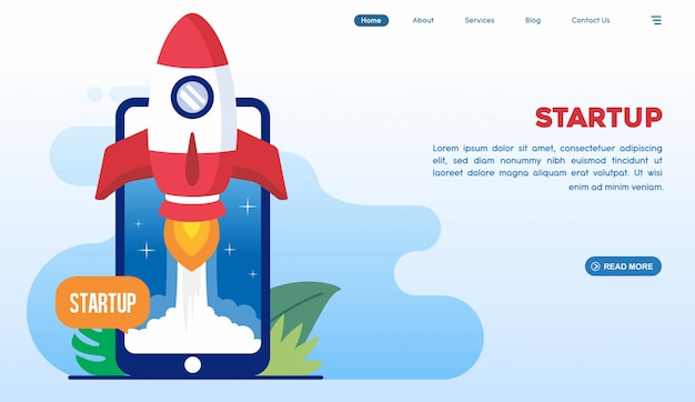 Start up landing page in flat style