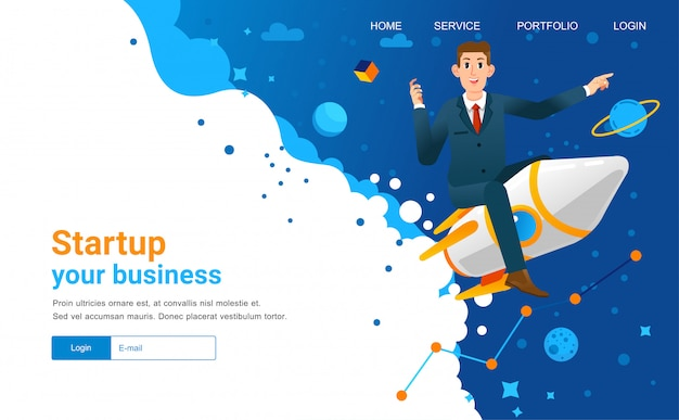 Start up landing page illustration with man riding the rocket and outer space