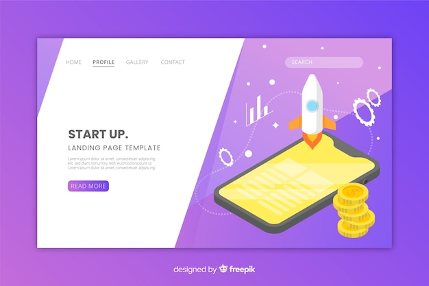 Start up landing page in isometric style
