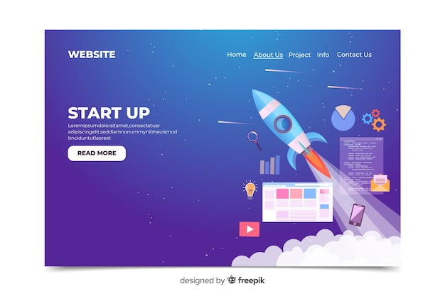 Start up landing page space theme
