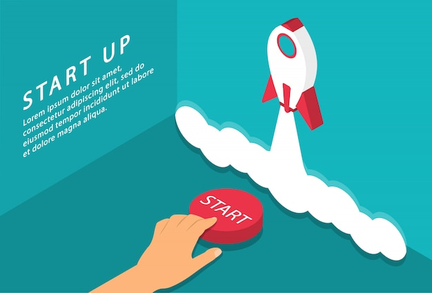 Start up landing page. start up your project. start button. rocket launch concept. isometric.