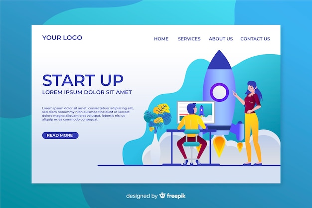 Start up landing page template flat design