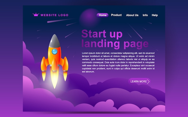 소셜 미디어 서비스의 방문 페이지 템플릿을 시작하십시오. 웹 사이트 및 모바일 웹 사이트를위한 웹 페이지 디자인의 현대 평면 디자인 컨셉