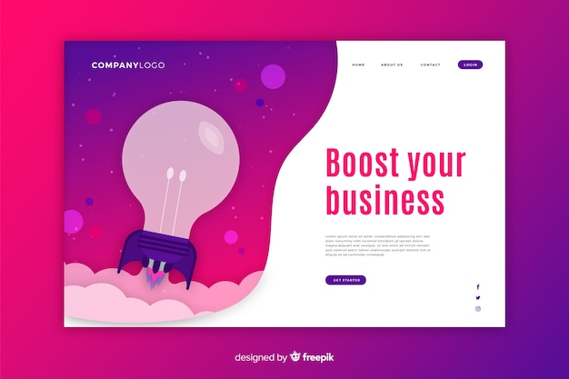 Start-up landing page with bulb and purple background