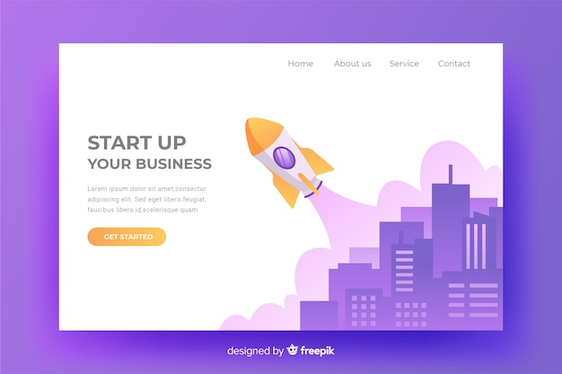 Start up landing page with content