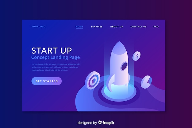 Start up landing page with flat design