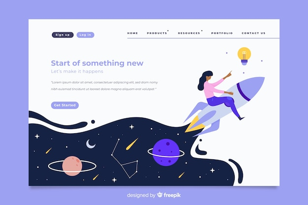 Start up landing page with fluid effect