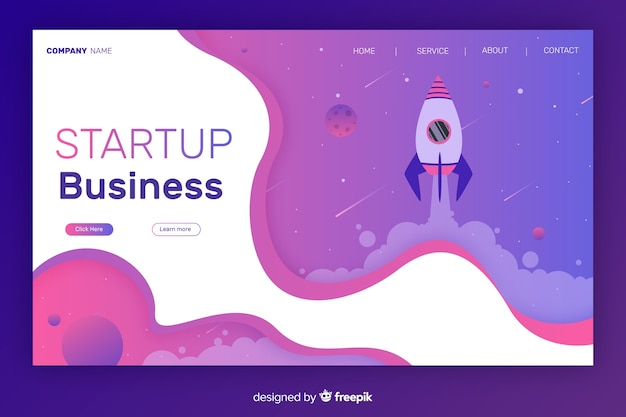 Start up landing page with fluid and geometric shapes