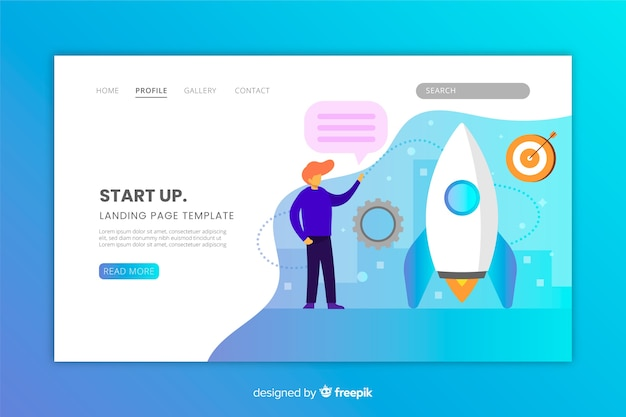 Start up landing page with gradient colors